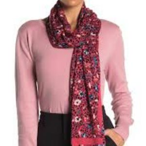 Kate Spade Ditsy Oblong Scarf, hot pink
